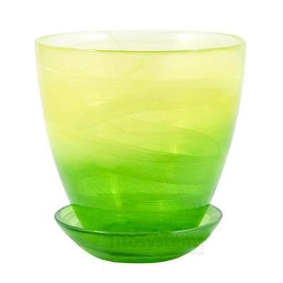 Горшок с поддоном Желто-зеленый