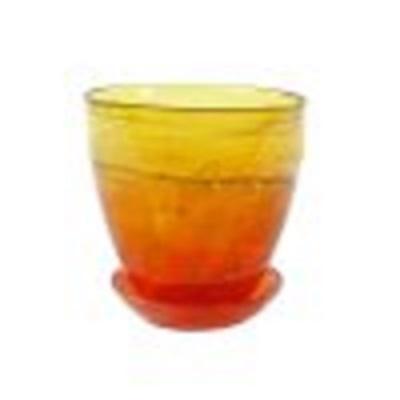 Горшок с поддоном Желто-оранжевый
