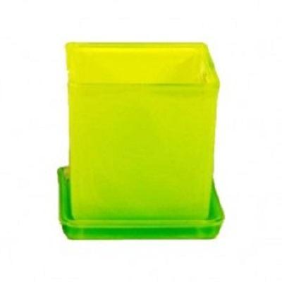 Горшок Куб с поддоном Желто-зелененый