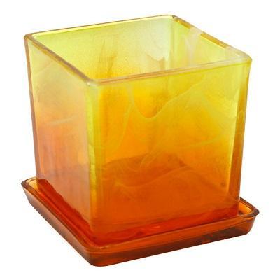 Горшок Куб с поддоном Желто-оранжевый