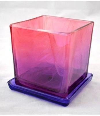 Горшок Куб с поддоном Розово-фиолетовый