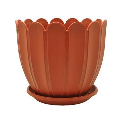 Горшок пластиковый Марго коричневый