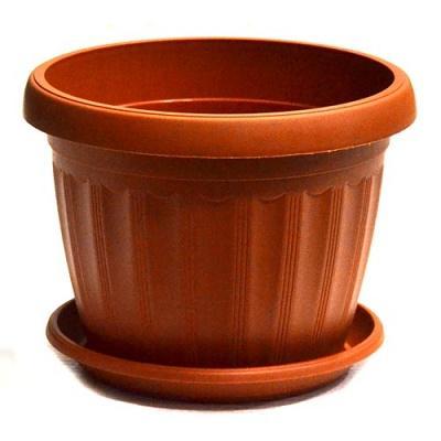 Горшок пластиковый Терра коричневый