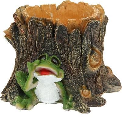 Кашпо Пень с лягушкой