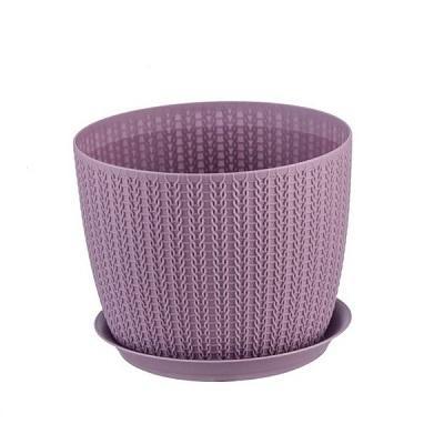 Кашпо пластиковое Вязание пурпурное