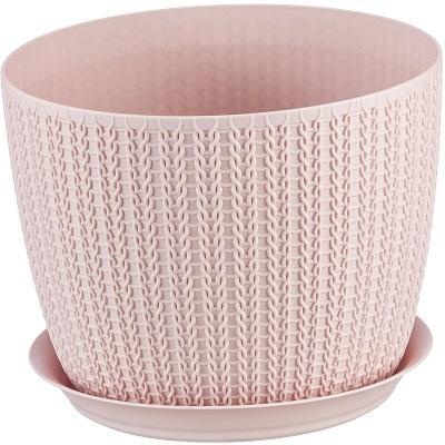 Кашпо пластиковое Вязание чайная роза