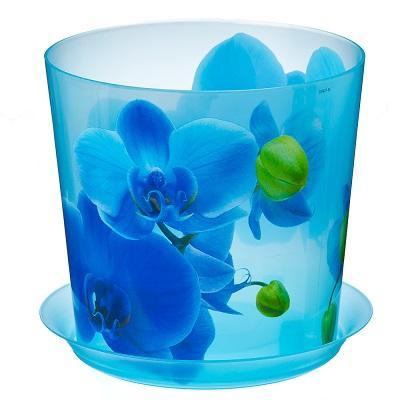 Кашпо пластиковое ДЕКО голубая орхидея