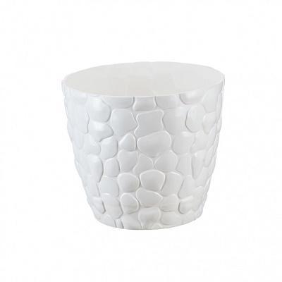 Кашпо пластиковое Камни белое