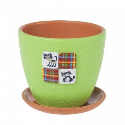Горшок керамический Барсики зеленый крокус