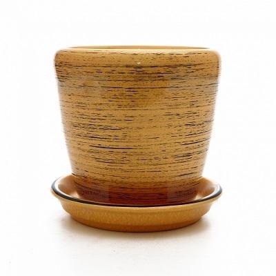 Горшок керамический Грация  (Глянец зол-черный)