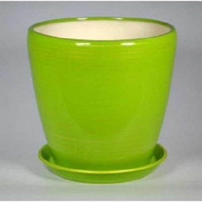 Горшок керамический Грация (Глянец салат-золото)