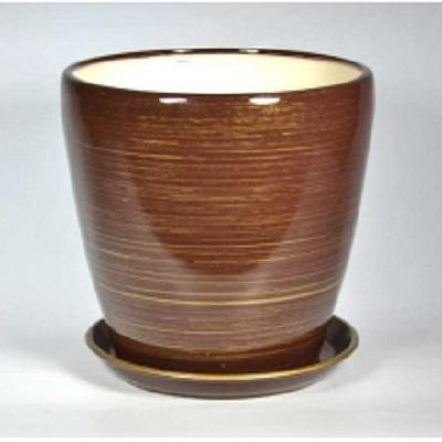 Горшок керамический Грация  (Глянец шоколад-золото)