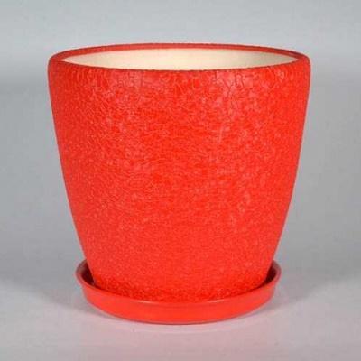 Горшок керамический Грация (шелк красный)