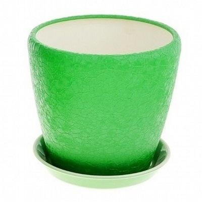 Горшок керамический Грация (шелк зеленый)