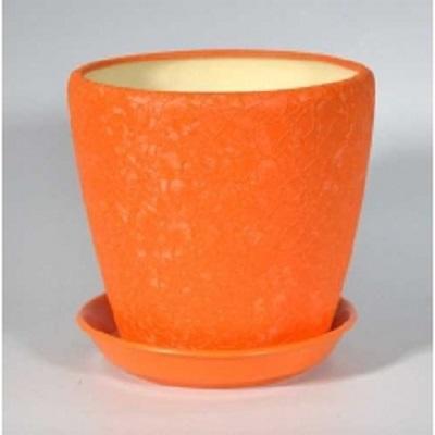 Горшок керамический Грация (шелк оранжевый)