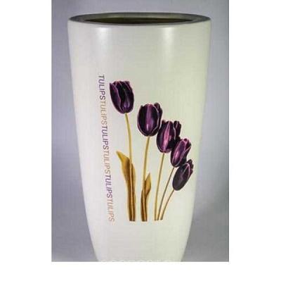 Кашпо керамическое Цилиндр  (тюльпаны)